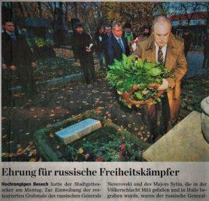 12.November 2018. Restaurierte Grabmäler hoher russischer Offiziere wurden in Halle eingeweiht